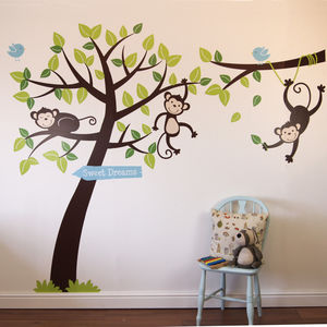 Monkey Tree And Branch Vine Wall Stickers - children's decorative accessories