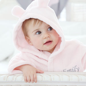 Pink Fleece Baby Robe - bath time