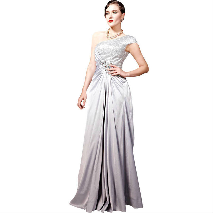 Metallic Patterned Silver Evening Dress