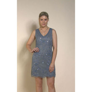 Elizabeth Beaded 1920s Grey/Blue Dress - bridesmaid fashion