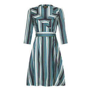 1950s Style Full Skirted Dress In Stripe Silk Cotton - women's fashion