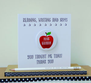 Personalised Teachers Card With Badge/Magnet - gifts for teachers