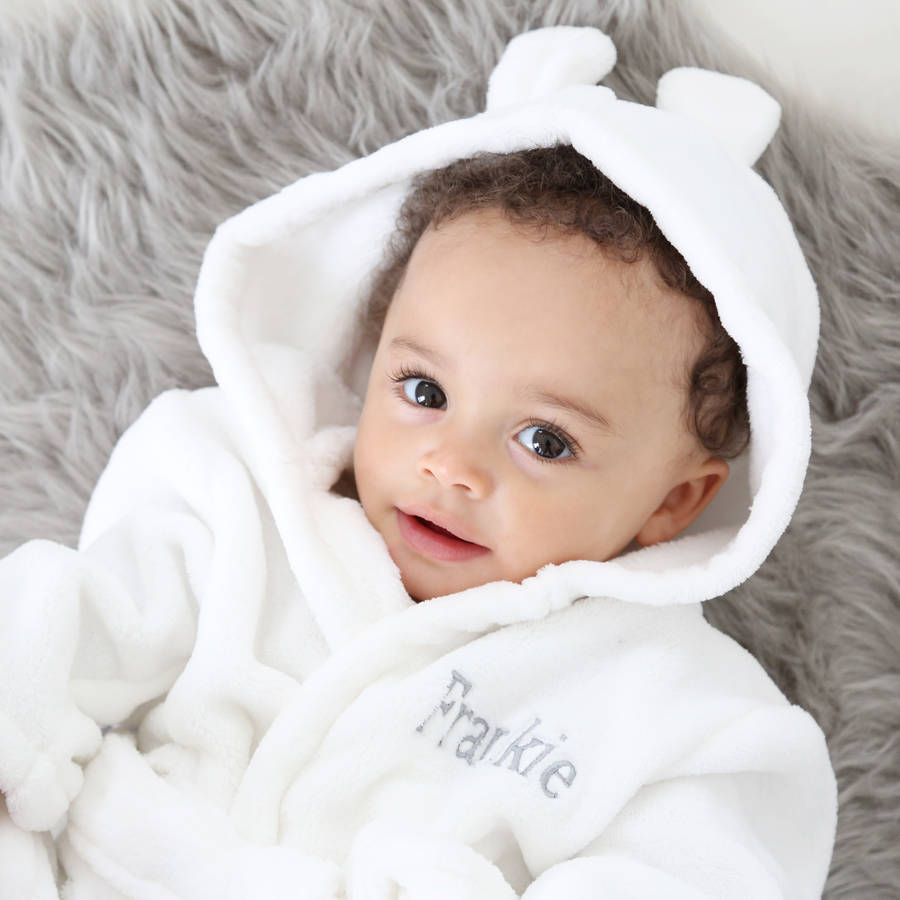 Christening gifts for boys and girls notonthehighstreet personalised hooded fleece dressing gown gifts for children negle Images