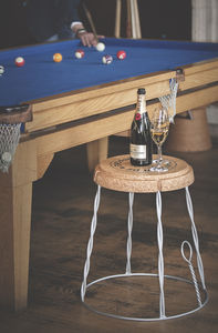 Giant Champagne Cork Wire Cage Side Table - living room