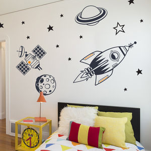 Kids Bedroom Wall Stickers Outer Space Feature Pack - decorative accessories