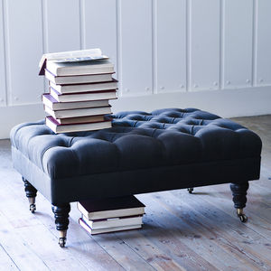 Elbert Buttoned Footstool, Charcoal - footstools & pouffes