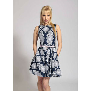 Tile Print Navy And White Skater Dress With Pink Belt