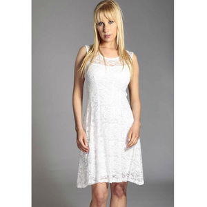 White Lace Overlay Stretch Dress - women's fashion