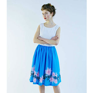 50s Floral Print Boat Neck Dress
