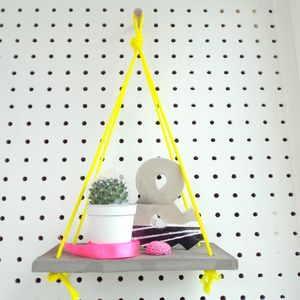 Neon Yellow And Concrete Shelf