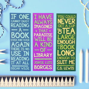 Literary Quotes Books And Authers Bookmark Set - book-lover