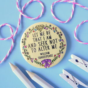 William Shakespeare Quote Mirror, Keyring Or Badge - health & beauty sale