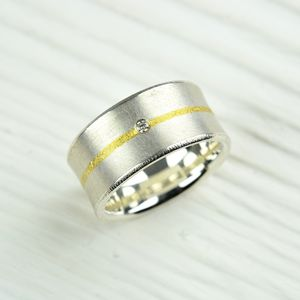 Silver And Fused Gold Diamond Ring - men's jewellery