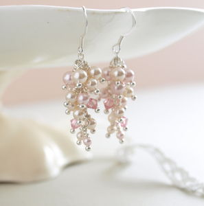 Blush Pink Cascade Earrings - earrings