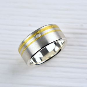Silver And Finegold Diamond Ring - rings