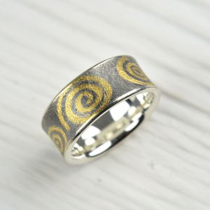 Oxidised Silver And Finegold Ring - rings