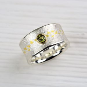 Silver And Fine Gold Tourmaline Ring - rings
