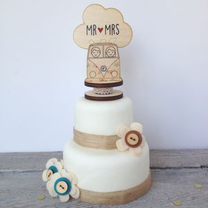 Wooden Camper Van Wedding Topper - cake toppers & decorations