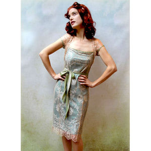 Lace Occasion Dress With Forties Neckline In Platinum - sale