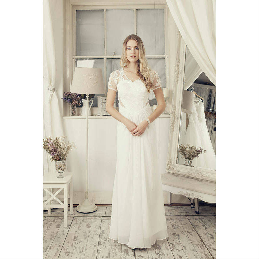 lace cap sleeves in ivory wedding dress by elliot claire london ...