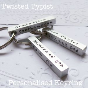 Personalised Square Bar Keyring - gifts for him
