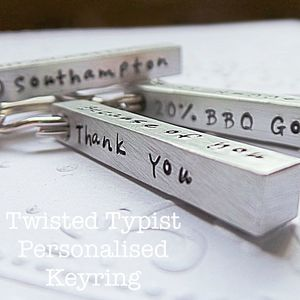 Personalised Bar Keyring - stylish gifts for mother's day