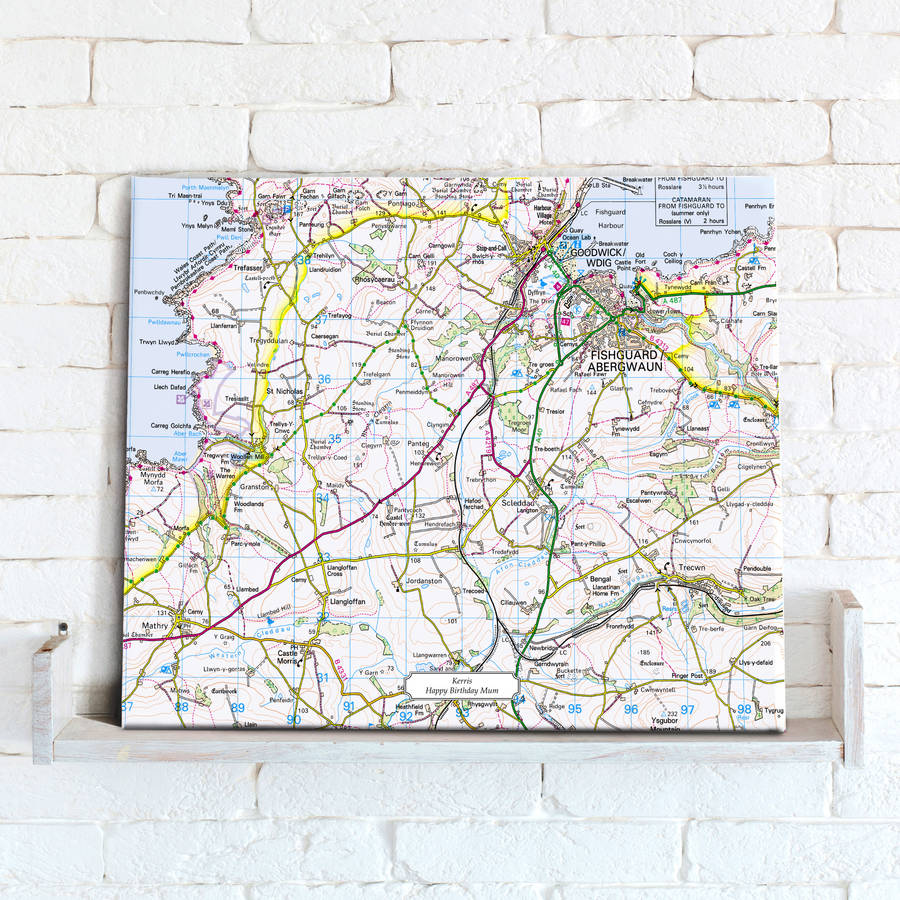 Postcode Centred Map Canvas Ordnance Survey Landranger