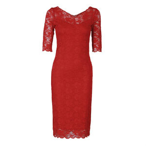 V Neck Lace Bodycon Dress - dresses