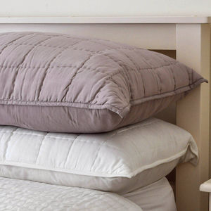 Quilted Feather Filled Pillow Lavender Or Cream