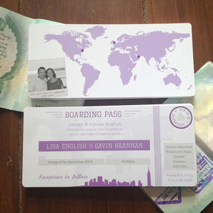 New York Boarding Pass Wedding Invitation Bundle