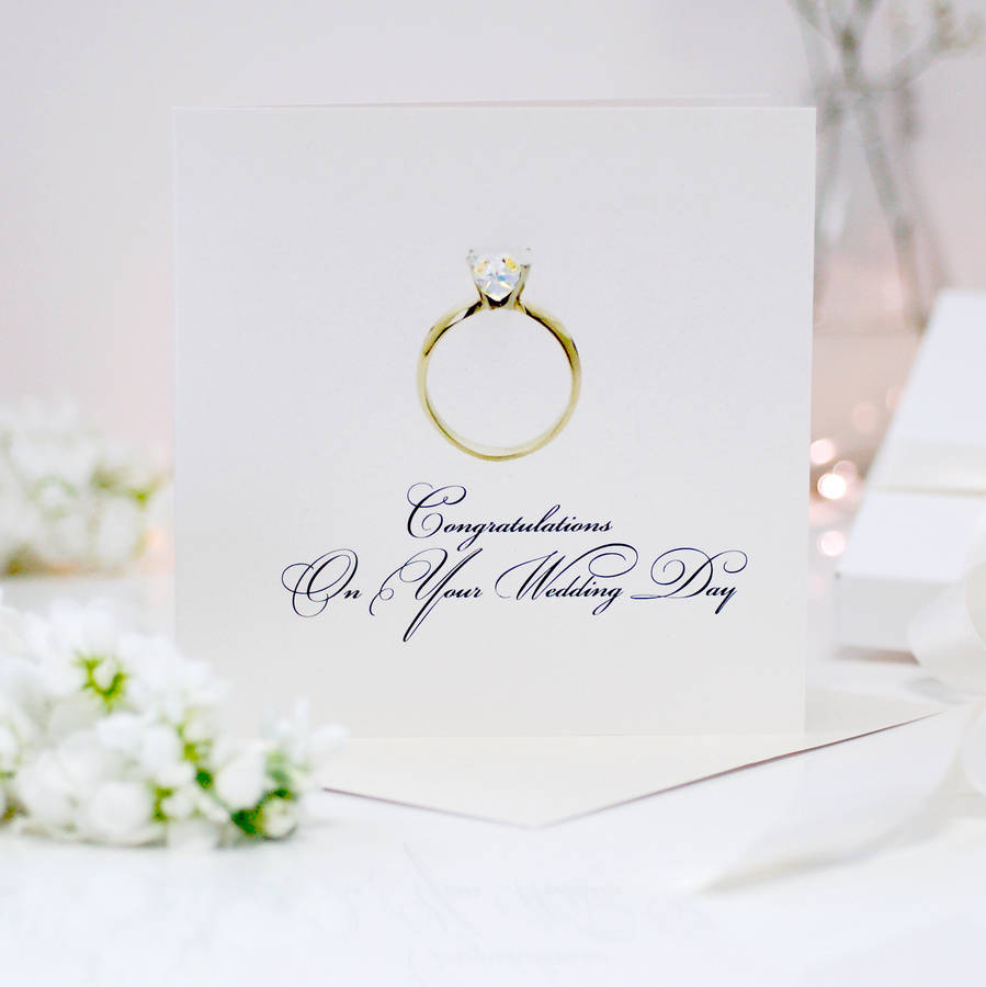 Diamond Ring Personalised Wedding Congratulations Card By Made