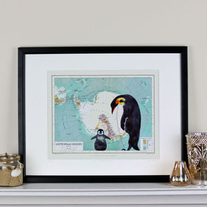 Penguins And Map Of Antartica Print - maps & locations