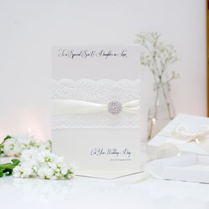 Large Lace And Crystal Wedding Congratulations Card - wedding cards & wrap