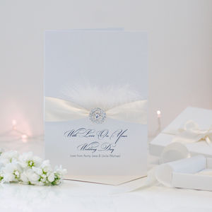 Large Personalised Feather Wedding Card - wedding cards