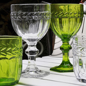 Coloured Glass Tumblers And Globlets