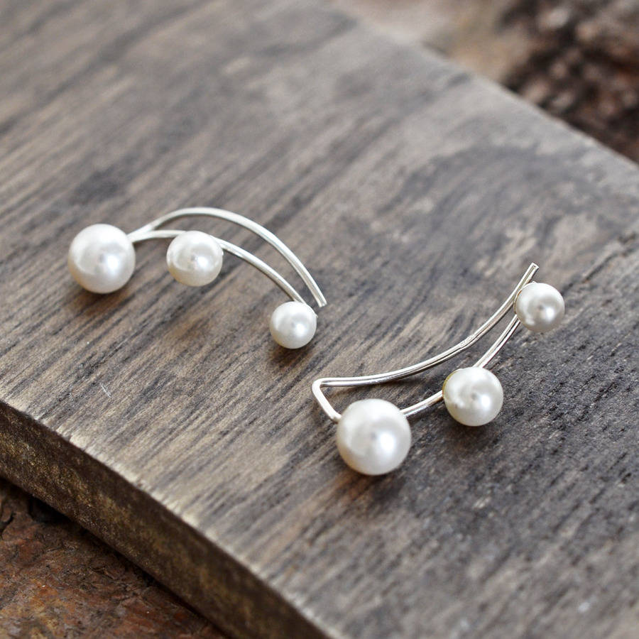 sterling silver three pearl ear climbers by martha jackson. Black Bedroom Furniture Sets. Home Design Ideas