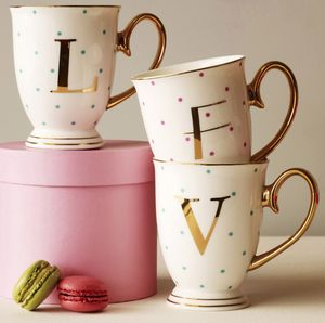 Spotty China Letter Mug - stocking fillers