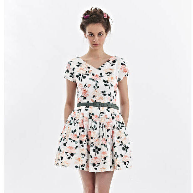 V Neck Flower Print Dress