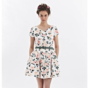 V Neck Flower Print Dress - women's fashion