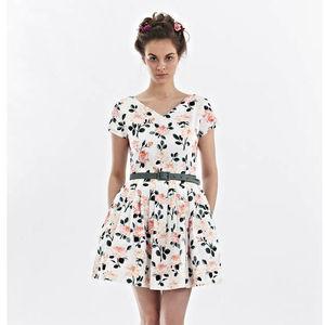 V Neck Flower Print Dress - dresses