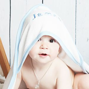 Personalised Hooded Baby Towel For Boys