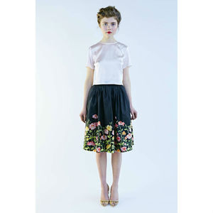 50s Silk Skirt And Top With Flower Print - blouses & shirts