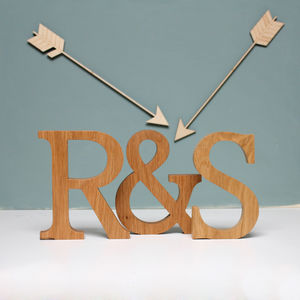 Personalised Couple Initial Oak Letters - 5th anniversary: wood