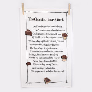'The Chocolate Lover's Week' Poem Tea Towel