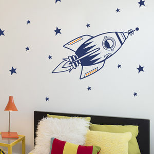 Space Rocket Wall Sticker Set - children's room