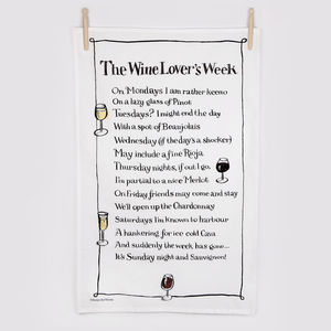 'The Wine Lover's Week' Poem Tea Towel