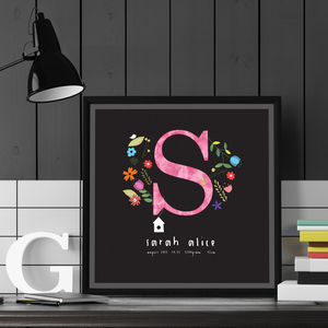 Personalised Birth 'Flower Initial' Print