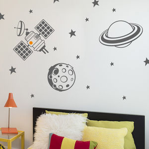 Planet And Satellite Wall Sticker Set