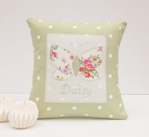 Personalised Sprig Print Butterfly Cushion - children's room