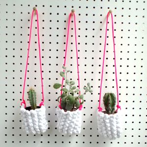 Trio Of Macrame Hanging Plant Pots
